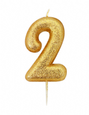 Number 2 Gold Glitter Candle